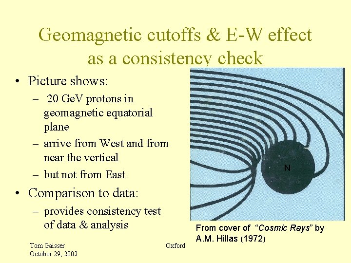 Geomagnetic cutoffs & E-W effect as a consistency check • Picture shows: – 20