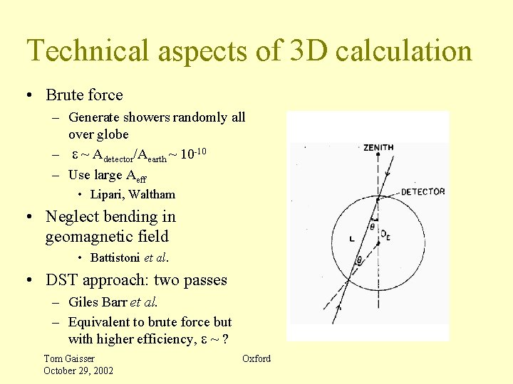 Technical aspects of 3 D calculation • Brute force – Generate showers randomly all