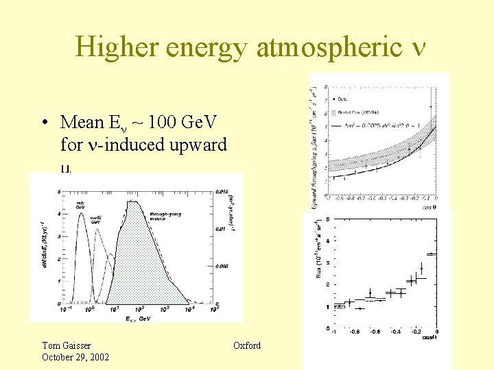 Higher energy atmospheric n • Mean En ~ 100 Ge. V for n-induced upward