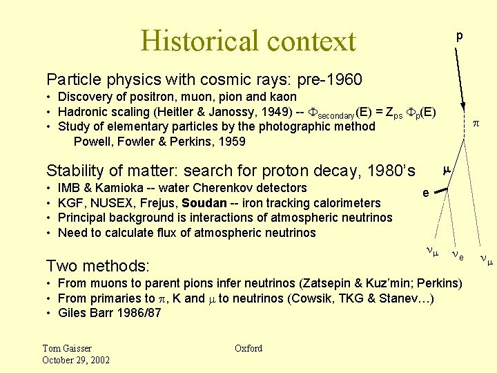 Historical context p Particle physics with cosmic rays: pre-1960 • Discovery of positron, muon,
