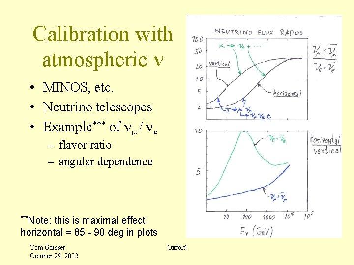 Calibration with atmospheric n • MINOS, etc. • Neutrino telescopes • Example*** of nm