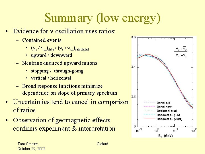 Summary (low energy) • Evidence for n oscillation uses ratios: – Contained events •