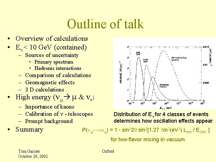 Outline of talk • Overview of calculations • En < 10 Ge. V (contained)