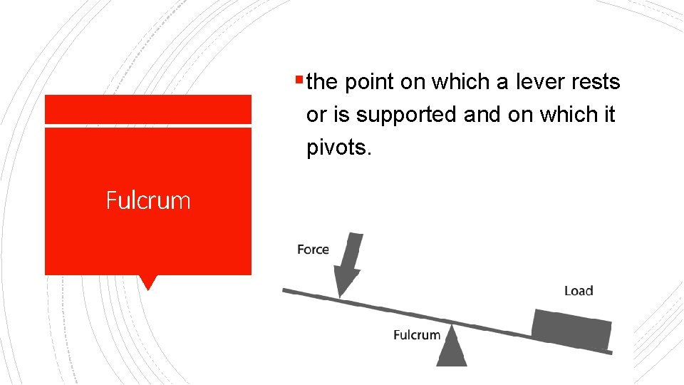 § the point on which a lever rests or is supported and on which