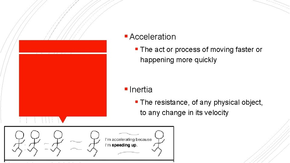 § Acceleration § The act or process of moving faster or happening more quickly