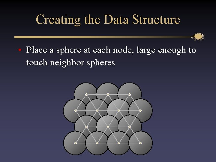 Creating the Data Structure • Place a sphere at each node, large enough to