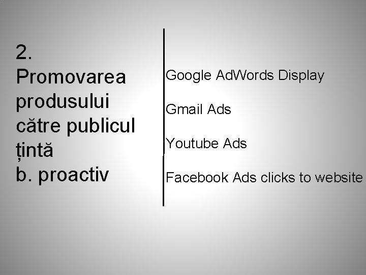 2. Promovarea produsului către publicul țintă b. proactiv Google Ad. Words Display Gmail Ads