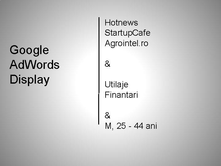 Google Ad. Words Display Hotnews Startup. Cafe Agrointel. ro & Utilaje Finantari & M,