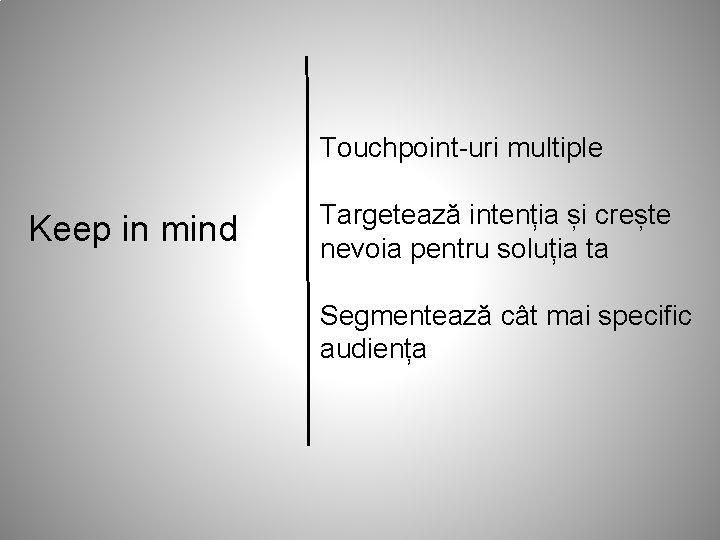 Touchpoint-uri multiple Keep in mind Targetează intenția și crește nevoia pentru soluția ta Segmentează
