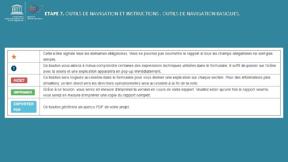 ETAPE 7. OUTILS DE NAVIGATION ET INSTRUCTIONS. OUTILS DE NAVIGATION BASIQUES.