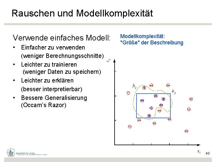 Rauschen und Modellkomplexität Verwende einfaches Modell: • Einfacher zu verwenden (weniger Berechnungsschnitte) • Leichter