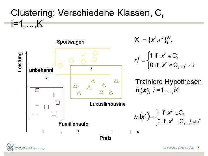 Clustering: Verschiedene Klassen, Ci i=1, . . . , K Leistung Sportwagen unbekannt Trainiere