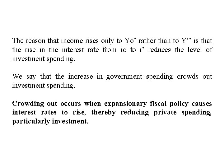 The reason that income rises only to Yo' rather than to Y'' is that