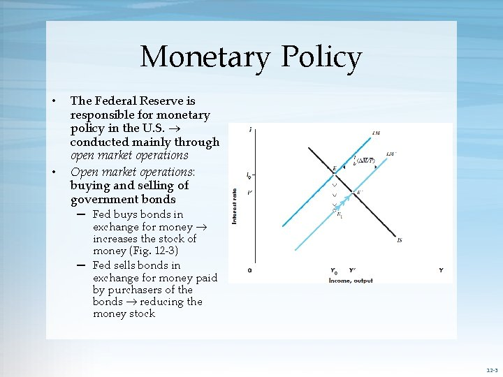 Monetary Policy • • The Federal Reserve is responsible for monetary policy in the