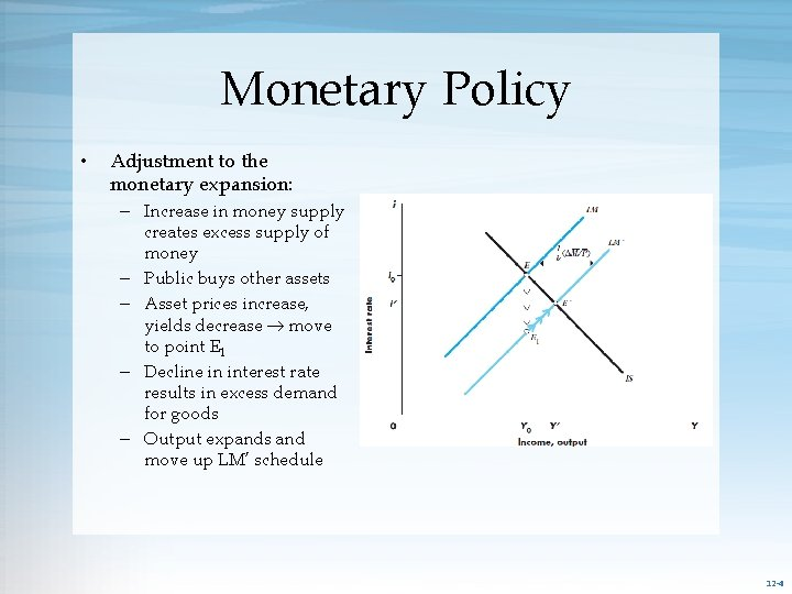 Monetary Policy • Adjustment to the monetary expansion: – Increase in money supply creates