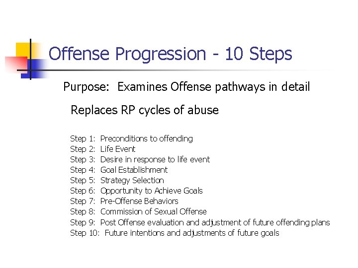 Offense Progression - 10 Steps Purpose: Examines Offense pathways in detail Replaces RP cycles