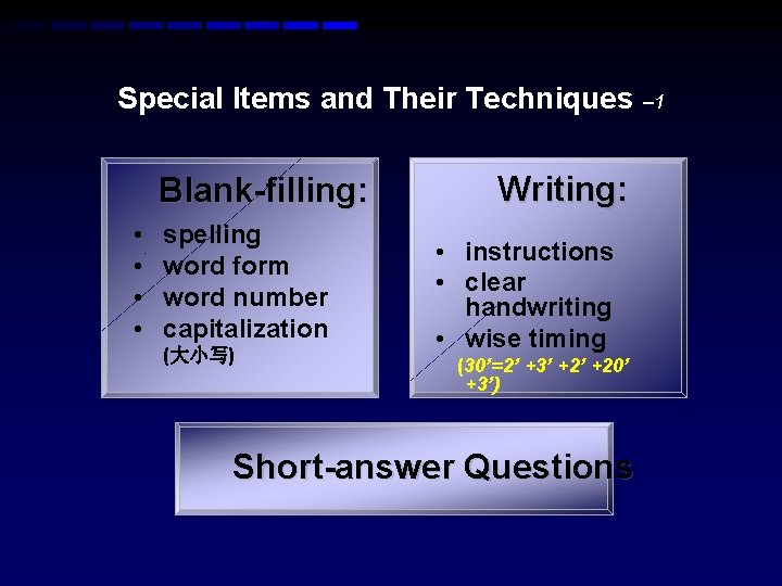 Special Items and Their Techniques – 1 Blank-filling: • • spelling word form word
