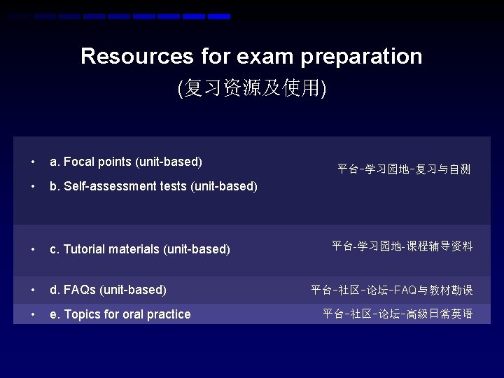 Resources for exam preparation (复习资源及使用) • a. Focal points (unit-based) • b. Self-assessment tests