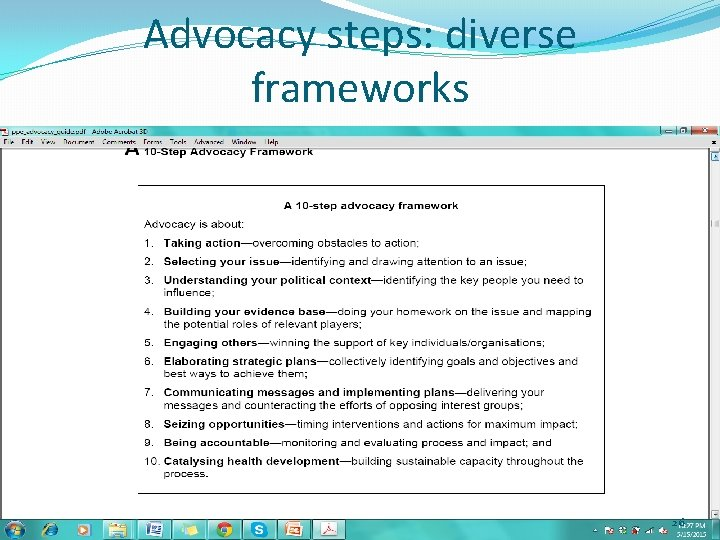Advocacy steps: diverse frameworks 26
