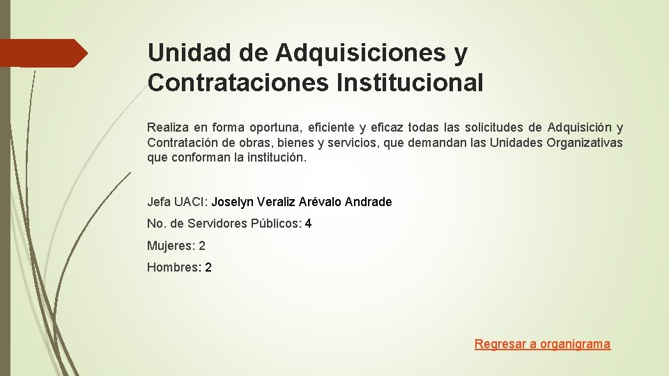 Unidad de Adquisiciones y Contrataciones Institucional Realiza en forma oportuna, eficiente y eficaz todas