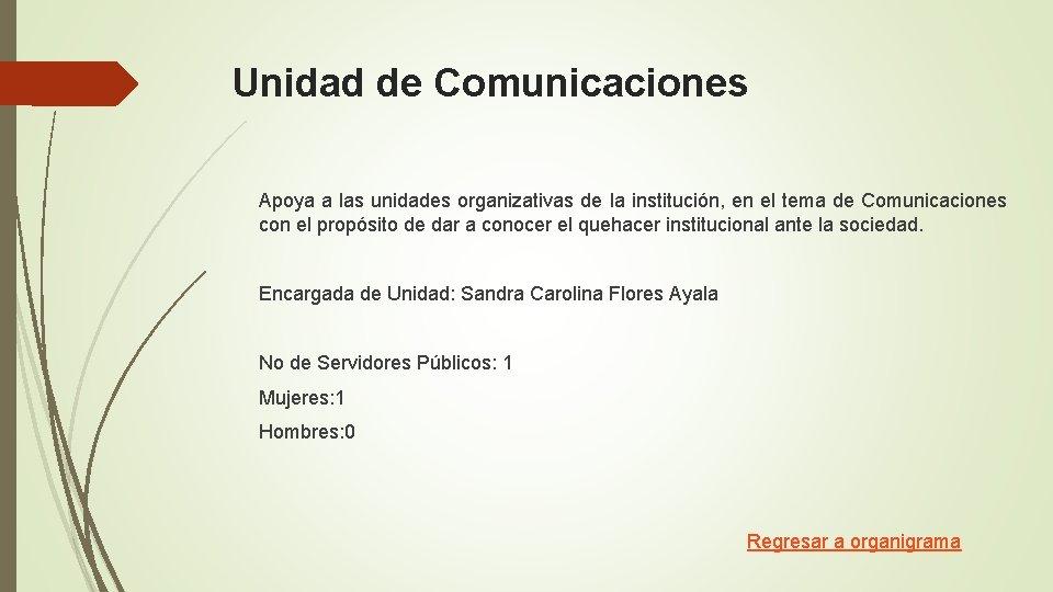 Unidad de Comunicaciones Apoya a las unidades organizativas de la institución, en el tema