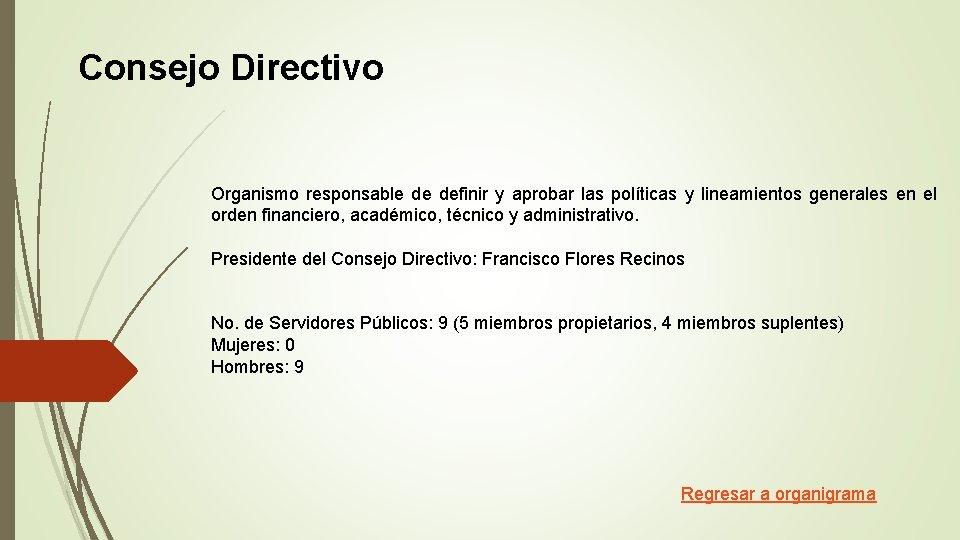 Consejo Directivo Organismo responsable de definir y aprobar las políticas y lineamientos generales en