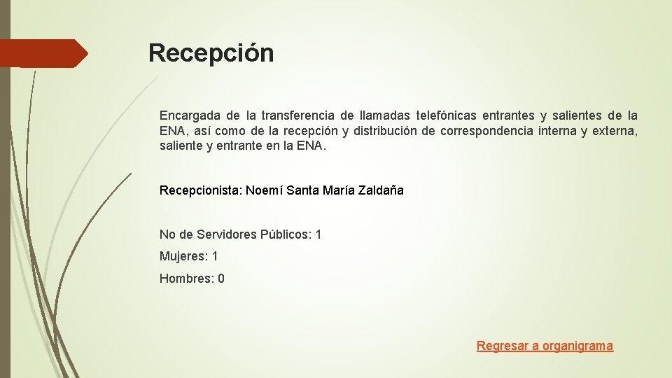 Recepción Encargada de la transferencia de llamadas telefónicas entrantes y salientes de la ENA,