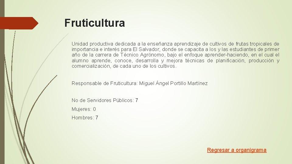 Fruticultura Unidad productiva dedicada a la enseñanza aprendizaje de cultivos de frutas tropicales de