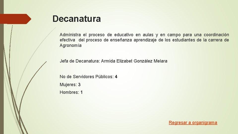 Decanatura Administra el proceso de educativo en aulas y en campo para una coordinación