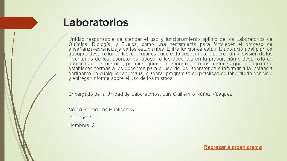 Laboratorios Unidad responsable de atender el uso y funcionamiento óptimo de los Laboratorios de