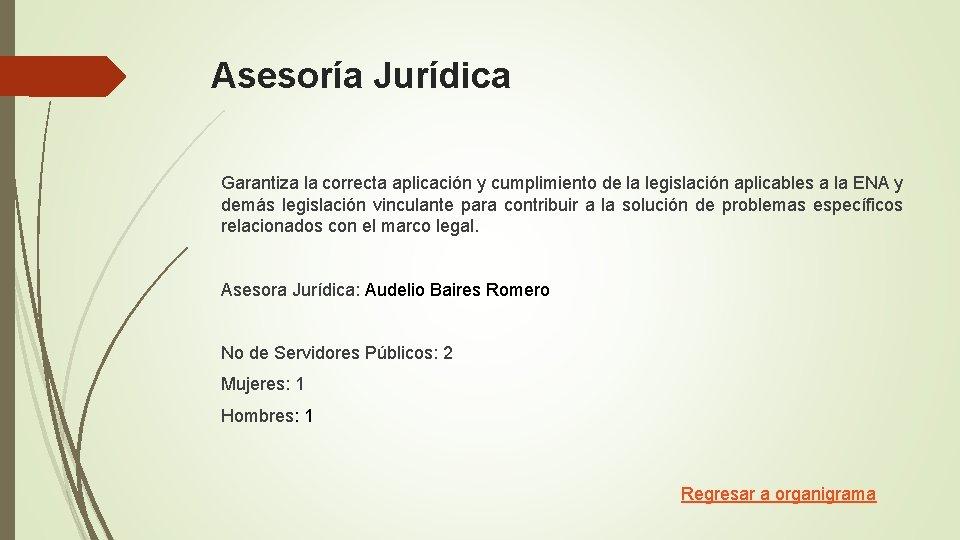Asesoría Jurídica Garantiza la correcta aplicación y cumplimiento de la legislación aplicables a la