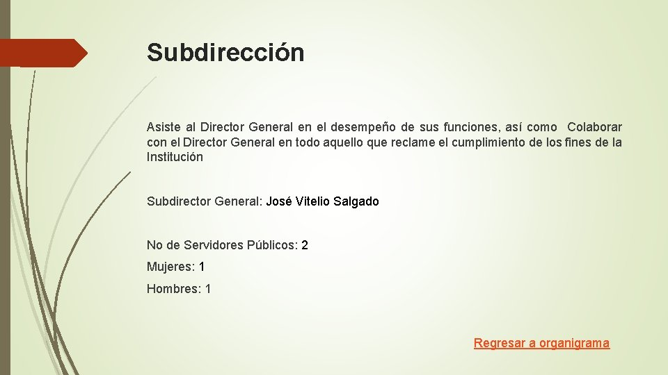 Subdirección Asiste al Director General en el desempeño de sus funciones, así como Colaborar