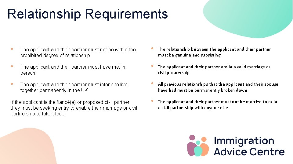 Relationship Requirements • The applicant and their partner must not be within the prohibited