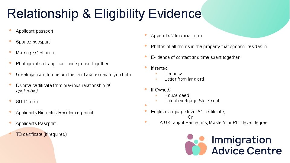 Relationship & Eligibility Evidence • Applicant passport • Spouse passport • Marriage Certificate •