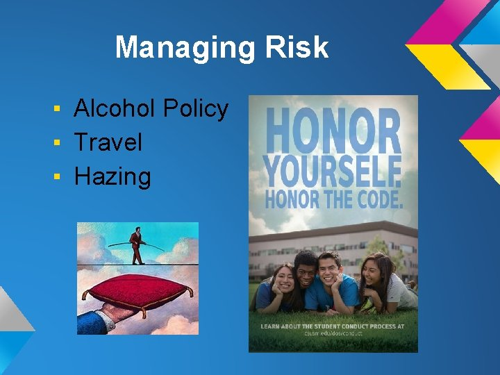 Managing Risk ▪ Alcohol Policy ▪ Travel ▪ Hazing