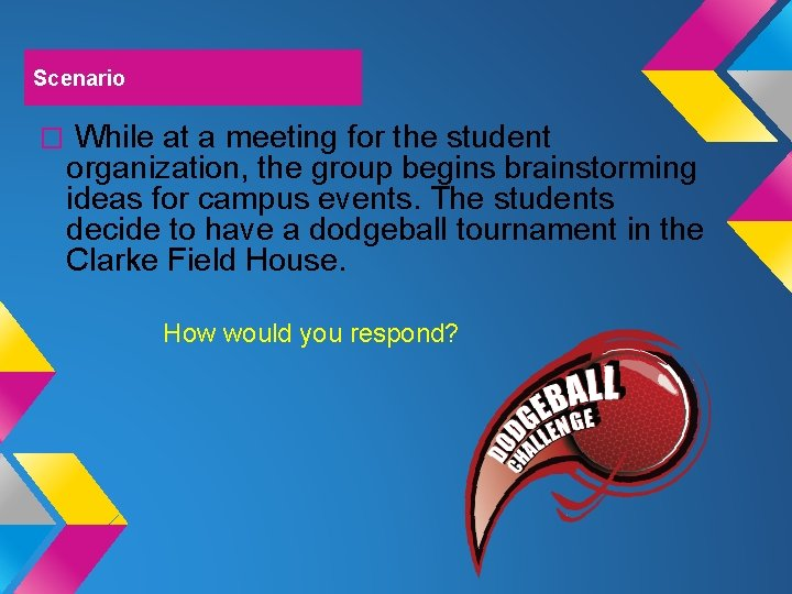 Scenario � While at a meeting for the student organization, the group begins brainstorming