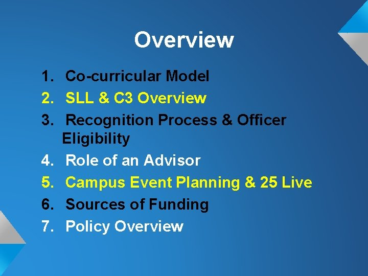 Overview 1. Co-curricular Model 2. SLL & C 3 Overview 3. Recognition Process &