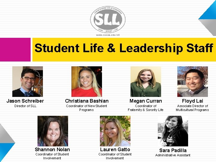 Student Life & Leadership Staff Jason Schreiber Christiana Bashian Megan Curran Floyd Lai Director