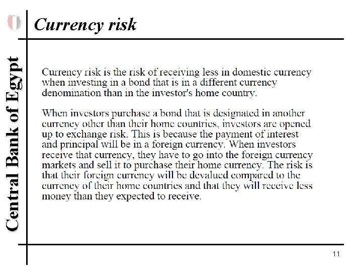 Central Bank of Egypt Currency risk 11