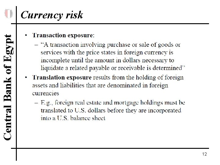 Central Bank of Egypt Currency risk 12