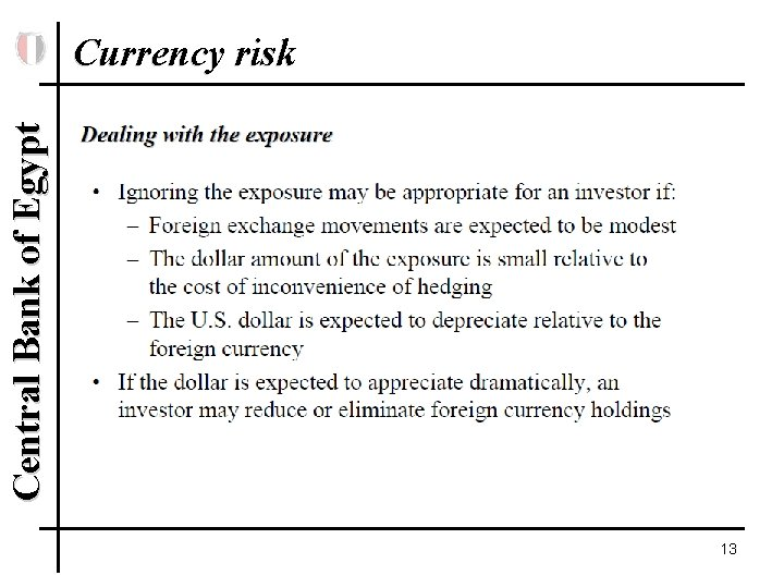 Central Bank of Egypt Currency risk 13