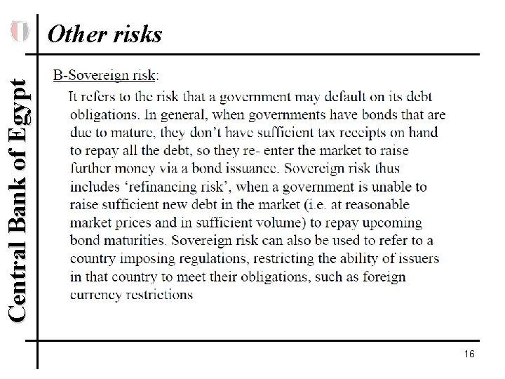 Central Bank of Egypt Other risks 16