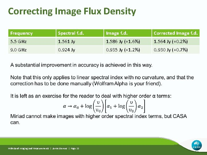 Correcting Image Flux Density Frequency Spectral f. d. Image f. d. Corrected Image f.
