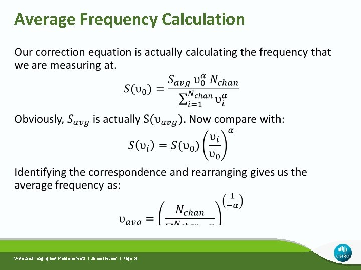 Average Frequency Calculation Wideband Imaging and Measurements | Jamie Stevens | Page 24