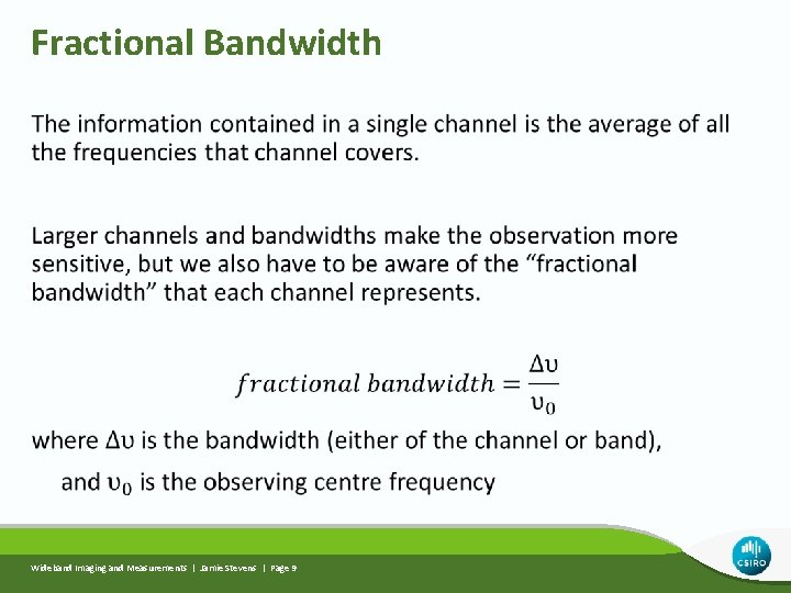 Fractional Bandwidth Wideband Imaging and Measurements | Jamie Stevens | Page 9