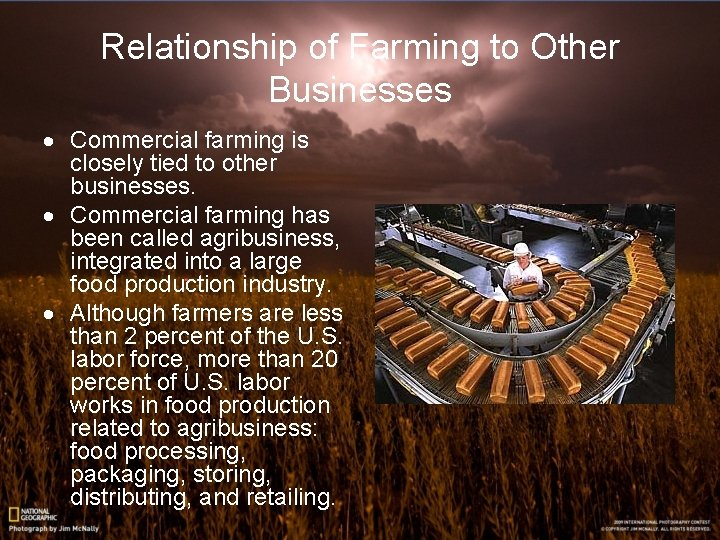 Relationship of Farming to Other Businesses · Commercial farming is closely tied to other