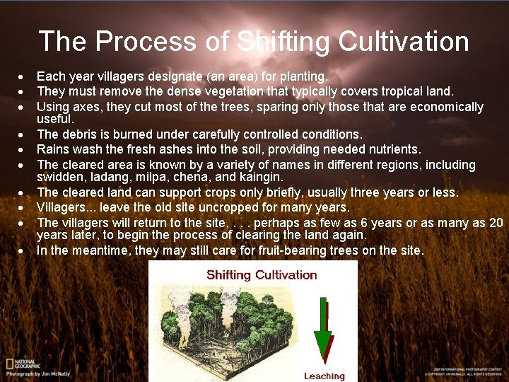 The Process of Shifting Cultivation · · · · · Each year villagers designate