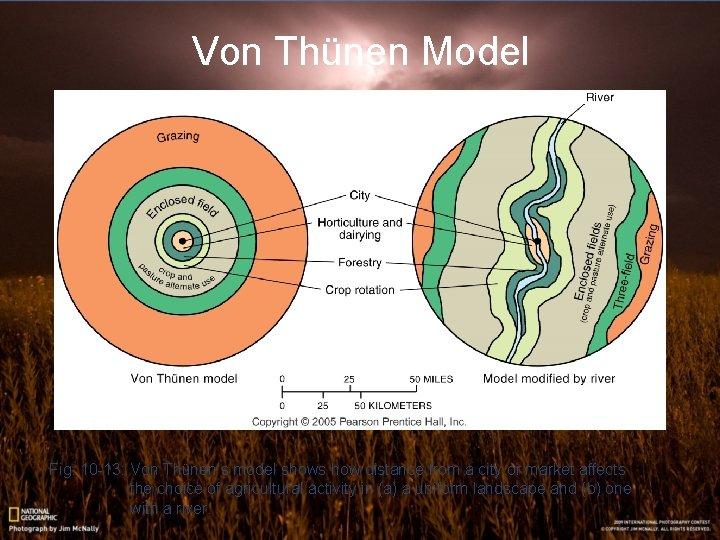 Von Thünen Model Fig. 10 -13: Von Thünen's model shows how distance from a