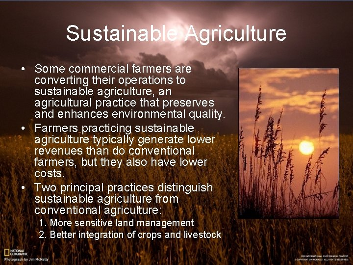Sustainable Agriculture • Some commercial farmers are converting their operations to sustainable agriculture, an