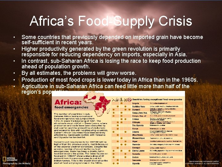 Africa's Food-Supply Crisis • • • Some countries that previously depended on imported grain